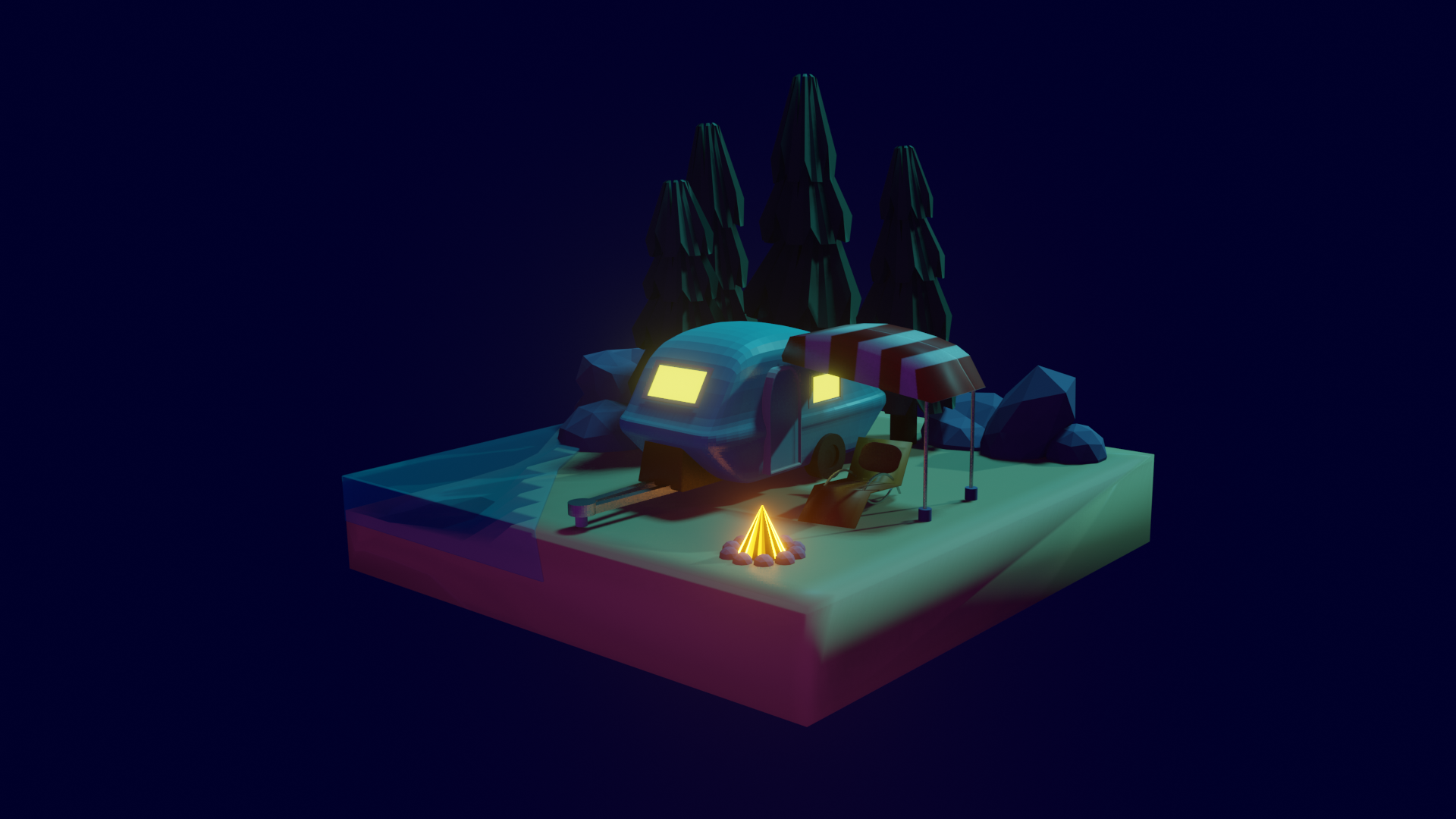low poly camping